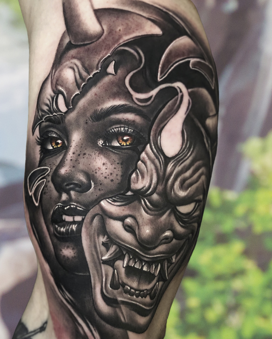 black and grey tattoo by Alex Young